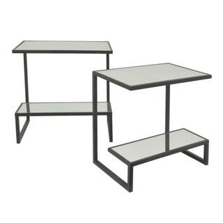Three Hands Black Metal Rectangular 2-tier Mirror-top Tables (Set of 2)