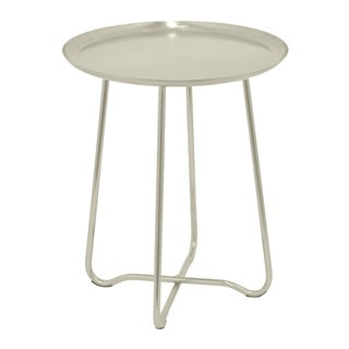 Three Hands Silver Metal Round Accent Table