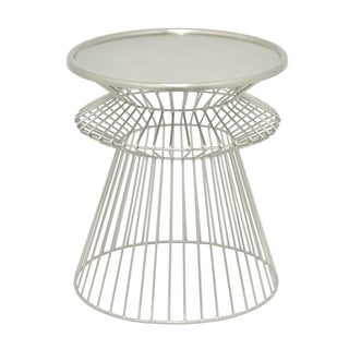 Three Hands Silver Metal Round Caged Accent Table