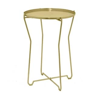 Three Hands Gold-tone Metal Round Accent Table