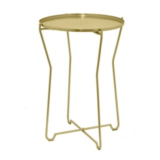 Three Hands Round Metal Accent Table - Gold