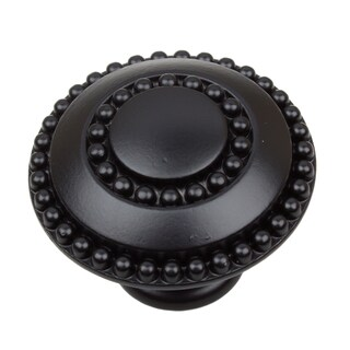 GlideRite 1.375-inch Round Double-Ring Beaded Matte Black Cabinet Knobs (Pack of 10 or 25)