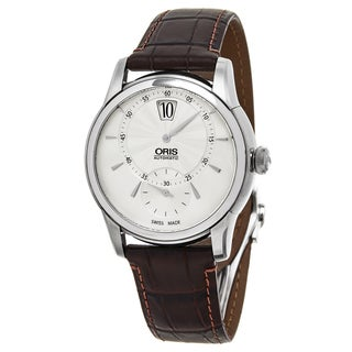 Oris Men's 917 7702 4051 LS 'Artelier' Silver Dial Brown Leather Strap Swiss Automatic Watch
