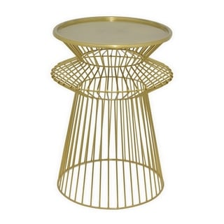 Three Hands Gold-tone Metal Round Caged Accent Table