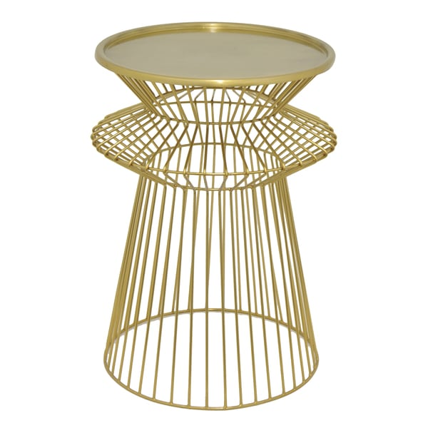 Three Hands Gold Tone Metal Round Caged Accent Table