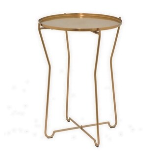 Three Hands Round Metal Accent Table - Bronze