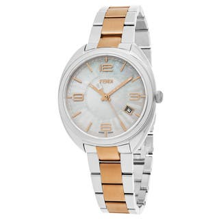 Fendi Women's F218234500 'Momento' Mother of Pearl Dial Two Tone Stainless Steel Swiss Quartz Watch|https://ak1.ostkcdn.com/images/products/12863925/P19625773.jpg?impolicy=medium