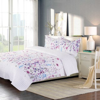 Bedsure Lilac Floral Bouquet Printed Quilt Set with Pillow Sham