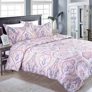Bedsure Marrakesh Microfiber Paisley Ethnic Boho Quilt Set with Pillow Sham