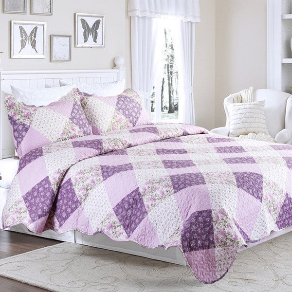 Bedsure Floral Daydream Purple and Lavender Printed Patchwork Quilt Set