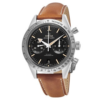 Omega Men's 331.12.42.51.01.002 'Speedmaster57' Black Dial Beige Leather Strap Swiss Automatic Watch