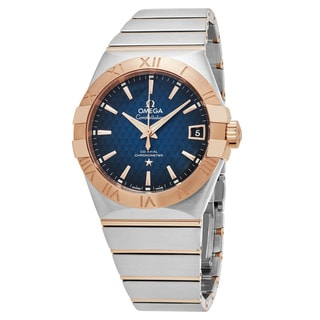 Omega Men's 123.20.38.21.03.001 'Constellation' Blue Dial Stainless Steel 18k Rose Gold Swiss Automatic Watch