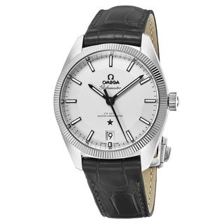 Omega Men's 130.33.39.21.02.001 'Constellation Silver Dial Grey Leather Strap Swiss Automatic Watch