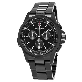 Swiss Army Men's V241730 'Night Vision' Black Dial Black Stainless Steel Chronograph Swiss Quartz Watch