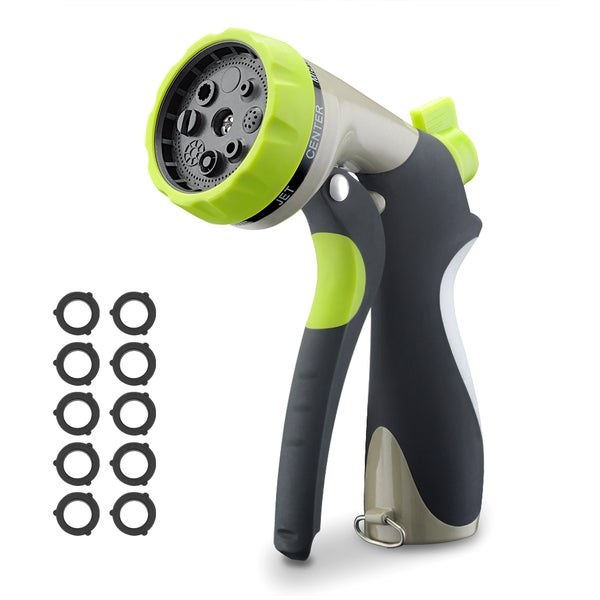Green Heavy-duty Metal Construction Garden Hose Nozzle With 8 Adjustable Watering Patterns and 10 Rubber Washers. Opens flyout.