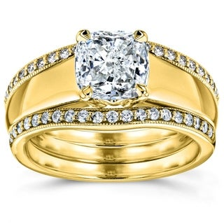 Annello by Kobelli 14k Yellow Gold 1 1/3ct TDW Bridal Set Cushion Diamond Solitaire with Double Diam
