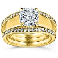 Annello by Kobelli 14k Yellow Gold 1 1/3ct TDW Bridal Set, Cushion Diamond Solitaire with Double Diamond Bands