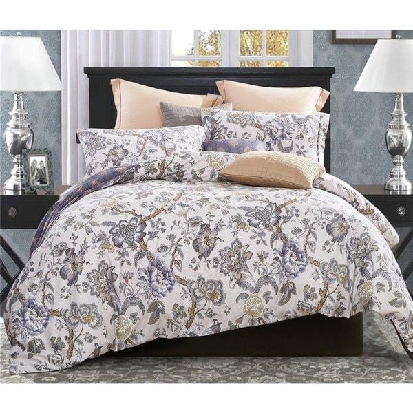 Word of Dream 3-piece Cotton Floral Blossom Print Duvet Cover Set