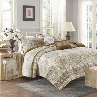 Madison Park Moraga Taupe Quilted Coverlet Set