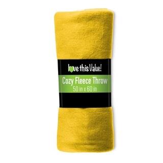 50 x 60 Inch Soft Wholesale Fleece Blankets (Set of 12) (Option: Yellow)