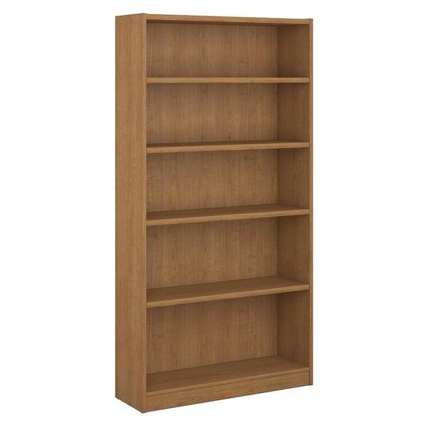 Bush Furniture Universal 5 Shelf Bookcase in Snow Maple