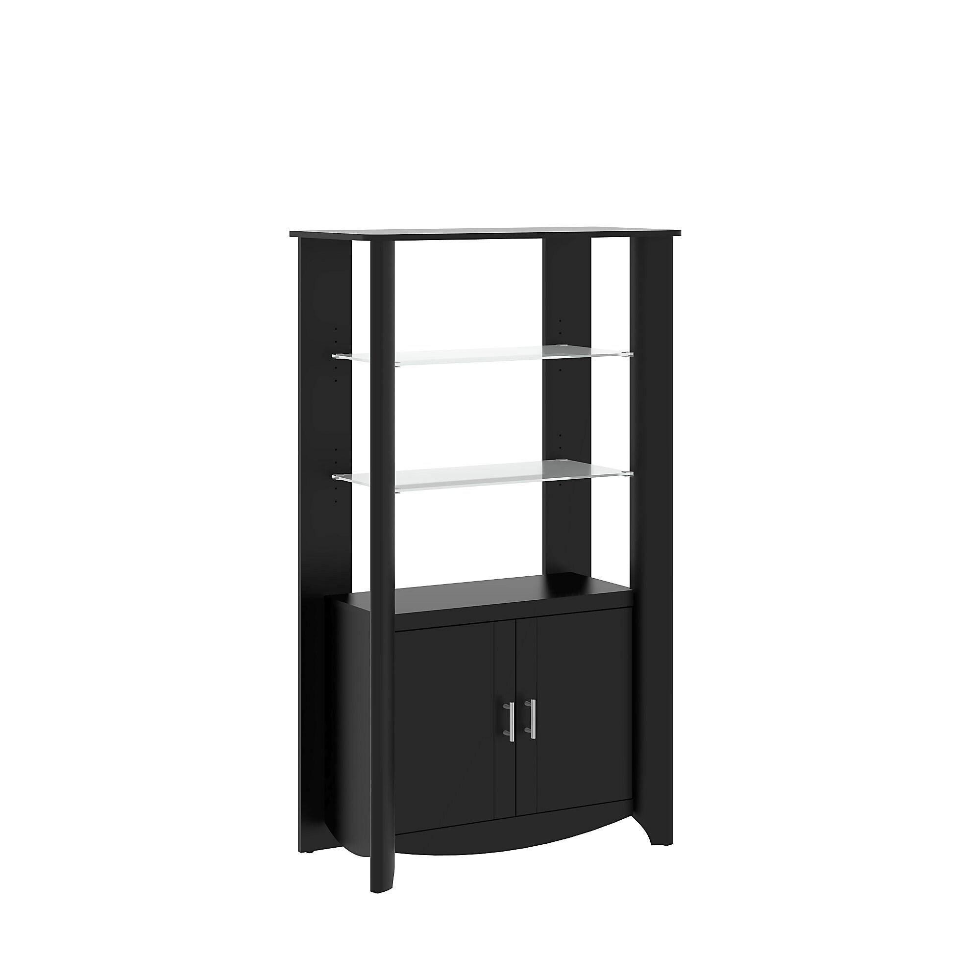 Bush Furniture Aero Tall Library Storage Cabinet with Doo...