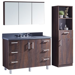 "48"" Bathroom Vanity with Grey Artificial Marble Top in Brown Elm Wood Texture Finish with Matching Mirror and Linen Tower"