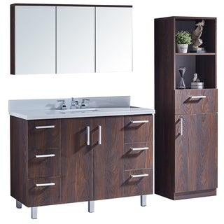 "48"" Bathroom Vanity with Phoenix White Marble Top in Brown Elm Wood Texture Finish with Matching Mirror and Linen Tower"