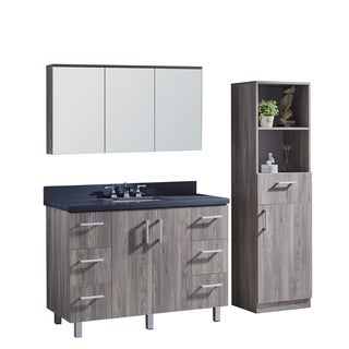 """48"""" Bathroom Vanity with Grey Artificial Marble Top in Grey Walnut Wood Texture Finish with matching mirror and linen tower"""