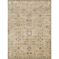 Traditional Distressed Beige/ Grey Floral Rug - 12' x 15'