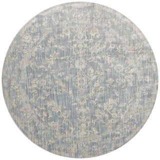Lucca Floral Light Blue/ Ivory Rug (9'6 x 9'6 Round)