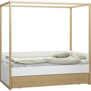 Voelkel 4 You Collection White Wood Twin Bed with Oak Canopy
