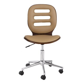 Adeco Bentwood Adjustable Armless Full Back Swivel Office Chair