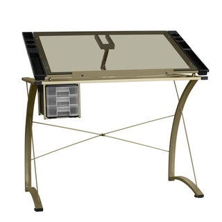 LYKE Home Glass Writing & Drafting Craft Station Table