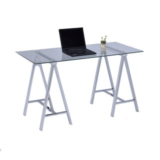 Lyke Home Modern Sleek Chrome Metal and Glass Computer Desk