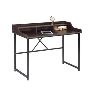 LYKE Home Cappuccino/ Black Wood/ Metal Traditional Writing Desk