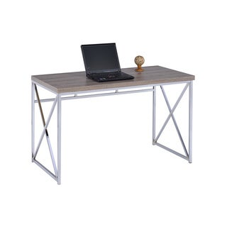 LYKE Home Taupe and Silver Metal, Veneer, and Wood Flexible Work and Tabletop Desk