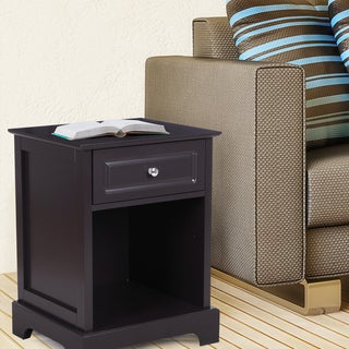 Adeco White/Brown Nightstand with Drawer and Shelf