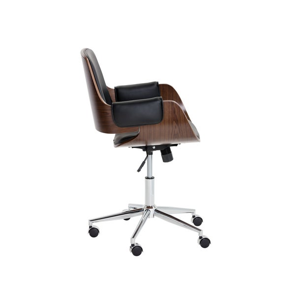 Sunpan Kellan Onyx Faux Leather Wood Office Chair With Stainless Steel Base