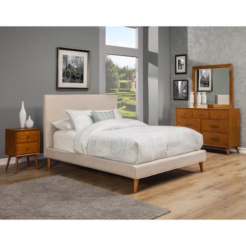 Alpine Britney Light Grey Upholstered Platform Bed