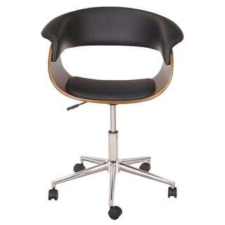 Adeco Bentwood Black/Brown Leather/Wood/Chrome Adjustable Half-back Armless Swivel Office Chair