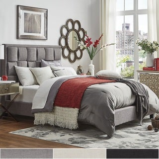 porter linen woven king upholstered bed by tribecca home