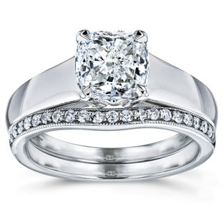 Annello 14k White Gold 1 1/6ct TDW Bridal Set Cushion Diamond Solitaire with Diamond Wedding Band (H-I, I1-I2)