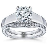 Annello by Kobelli 14k White Gold 1 1/6ct TDW Bridal Set, Cushion Diamond Solitaire with Diamond Lined Wedding Band