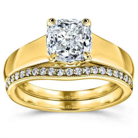 Annello by Kobelli 14k Yellow Gold 1 1/6ct TDW Bridal Set, Cushion Diamond Solitaire with Diamond Lined Wedding Band