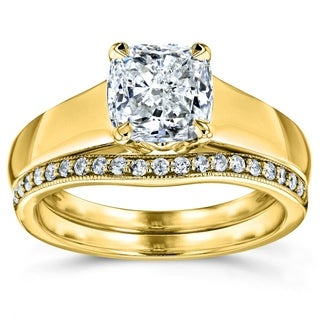 Annello 14k Yellow Gold 1 1/6ct TDW Bridal Set Cushion Diamond Solitaire with Diamond Wedding Band (H-I, I1-I2)
