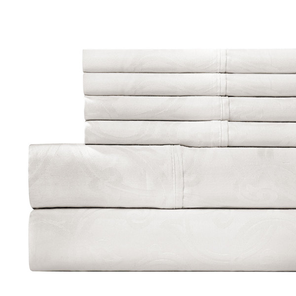 Jacquard 600 Thread Count 6-piece White Sheet Set with Bonus Pillowcases