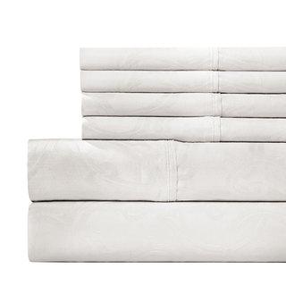 Jacquard 600 Thread Count 6-piece White Sheet Set with Bonus Pillowcases