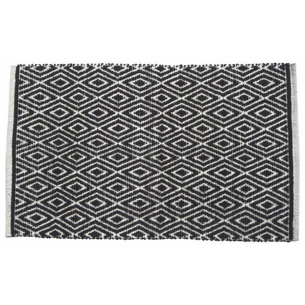 Black Cotton Diamond-patterned Rug