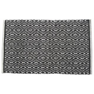 Black Cotton Diamond-patterned Rug